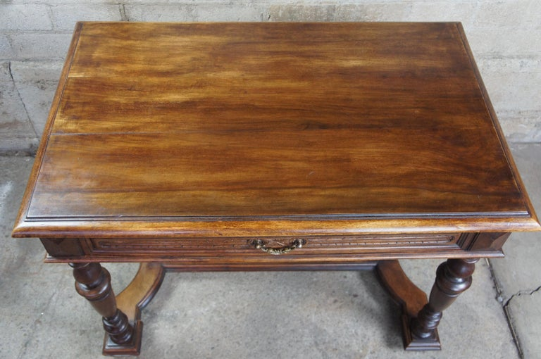 Carved Antique 19th Century French Henry II Style Walnut Trestle Table Library Desk