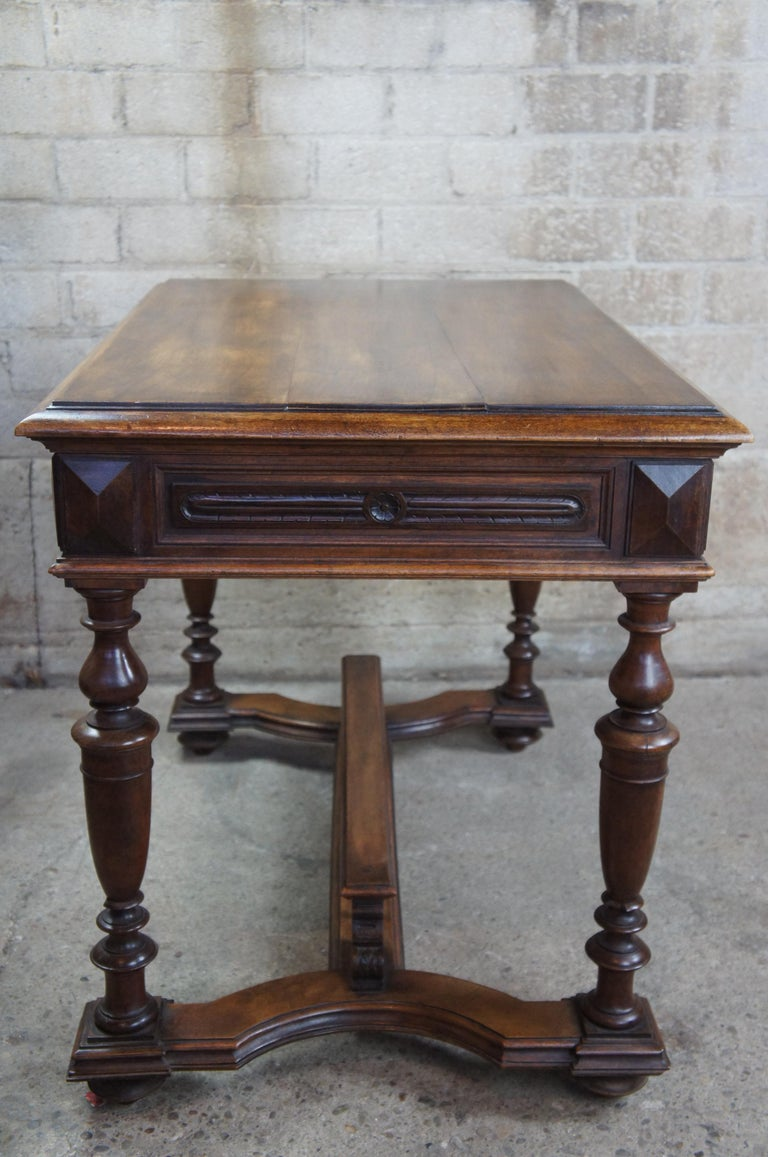 Antique 19th Century French Henry II Style Walnut Trestle Table Library Desk 2