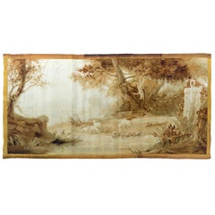 Antique 19th Century French Landscape Aubusson Tapestry
