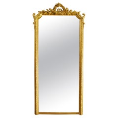 Antique 19th Century French Louis Seize Gold Gilt Mirror with Crest