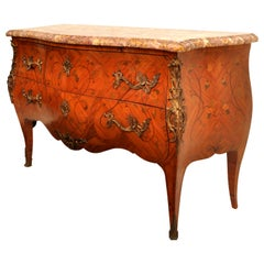 Antique 19th Century French Louis XV Inlaid Marquetry Bombe Commode Chest 1880