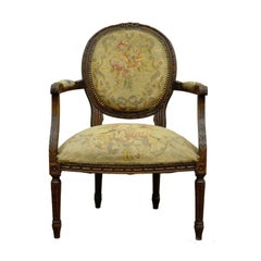 Antique 19th Century French Louis XVI Style Needlepoint Fireside Armchair B
