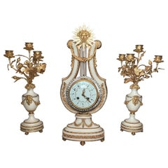 Antique 19th Century French Marble and Gold Bronze 3 Piece Clock Set
