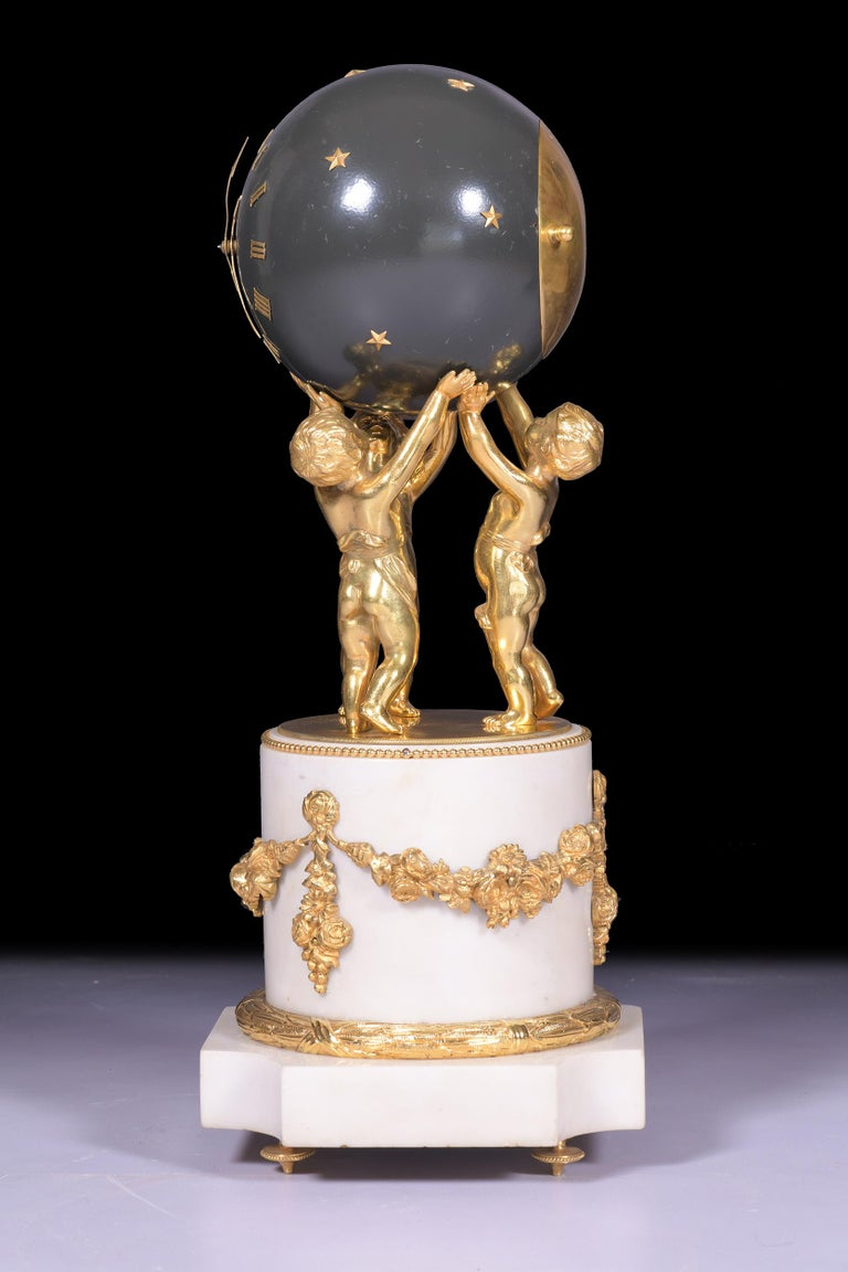 Victorian Antique 19th Century French Marble Figural Globe Clock by Vincenti et Cie For Sale
