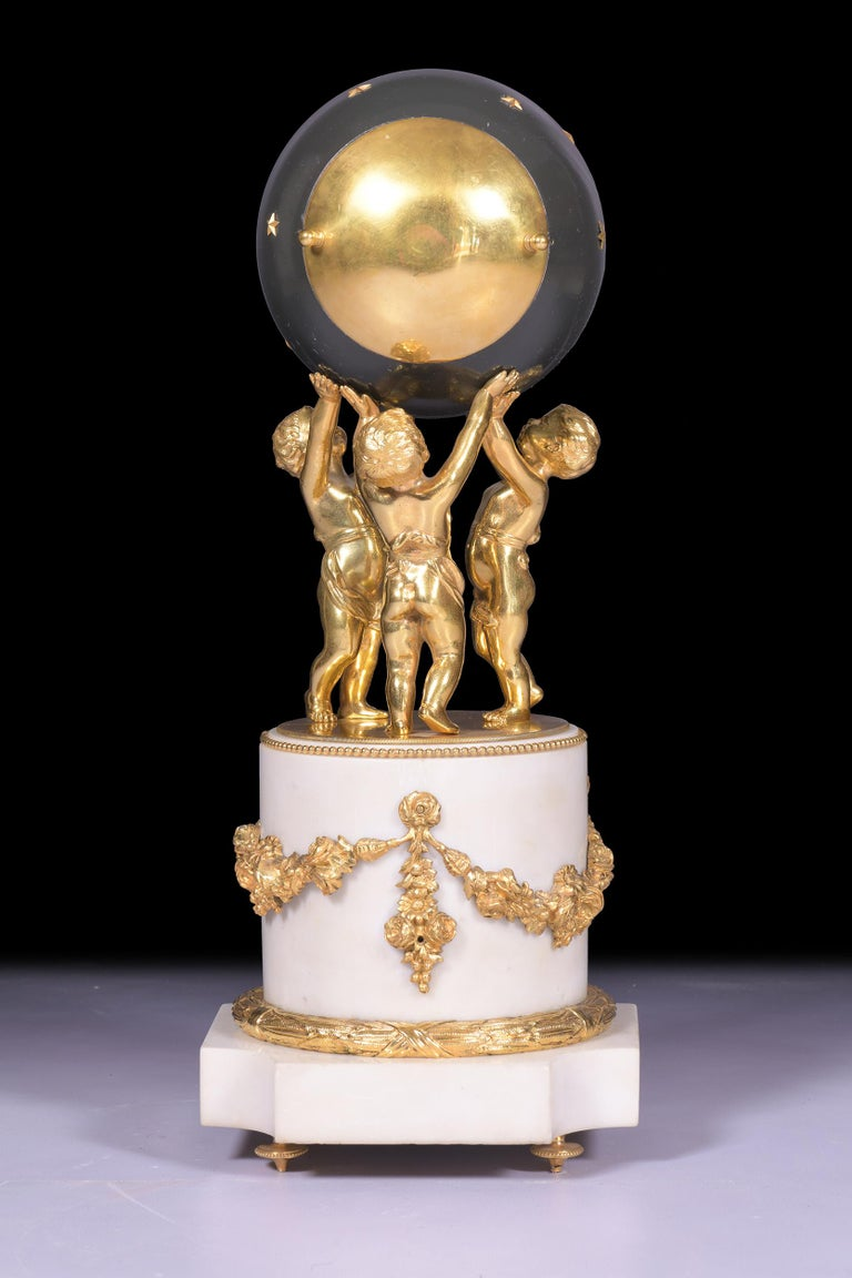 Antique 19th Century French Marble Figural Globe Clock by Vincenti et Cie In Excellent Condition For Sale In Dublin, IE
