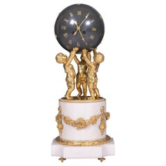 Antique 19th Century French Marble Figural Globe Clock by Vincenti et Cie