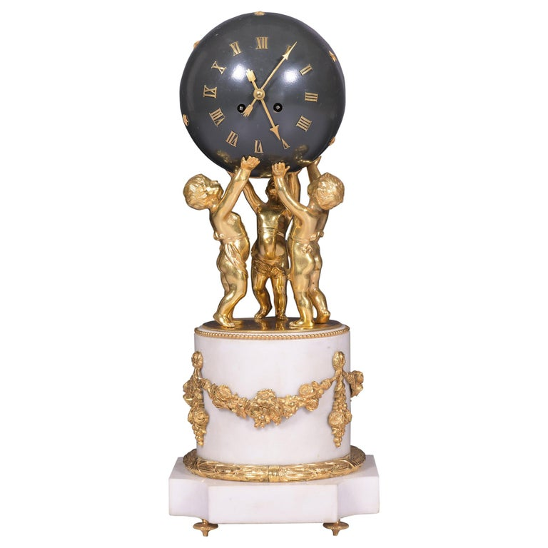 Antique 19th Century French Marble Figural Globe Clock by Vincenti et Cie For Sale