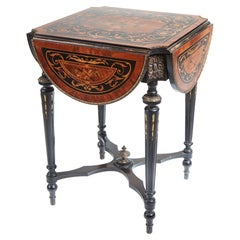 Antique 19th Century French Marquetry Drop Leaf Table