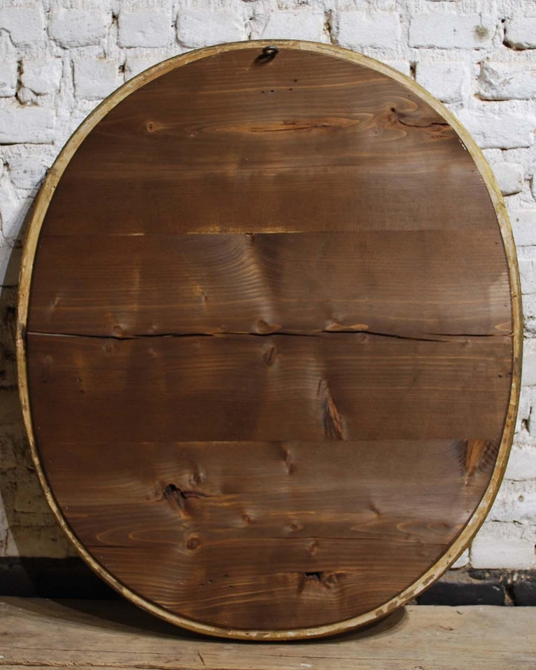 Antique 19th Century French Oval Gold Leaf Gilt Mirror with Faceted Glass For Sale 5