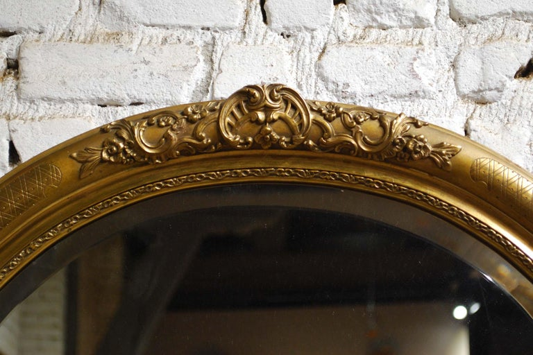 Antique 19th Century French Oval Gold Leaf Gilt Mirror with Faceted Glass In Good Condition For Sale In Casteren, NL