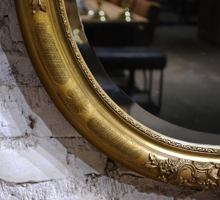 Antique 19th Century French Oval Gold Leaf Gilt Mirror with Faceted Glass For Sale 2