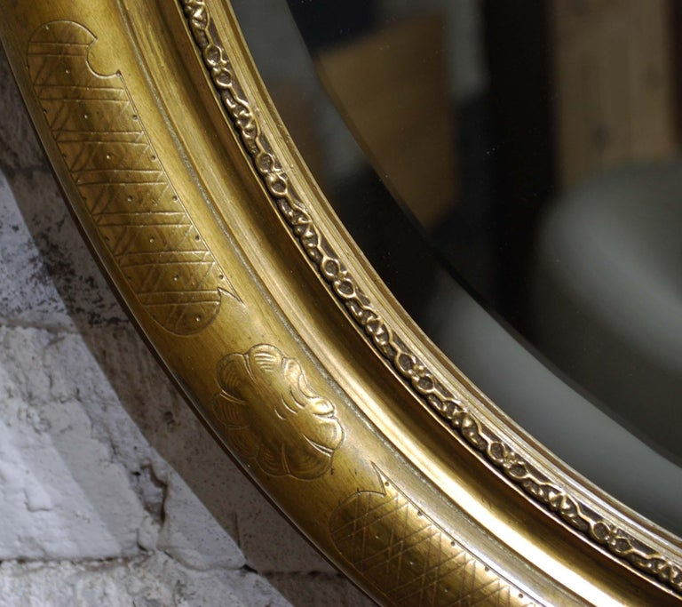 Antique 19th Century French Oval Gold Leaf Gilt Mirror with Faceted Glass For Sale 3