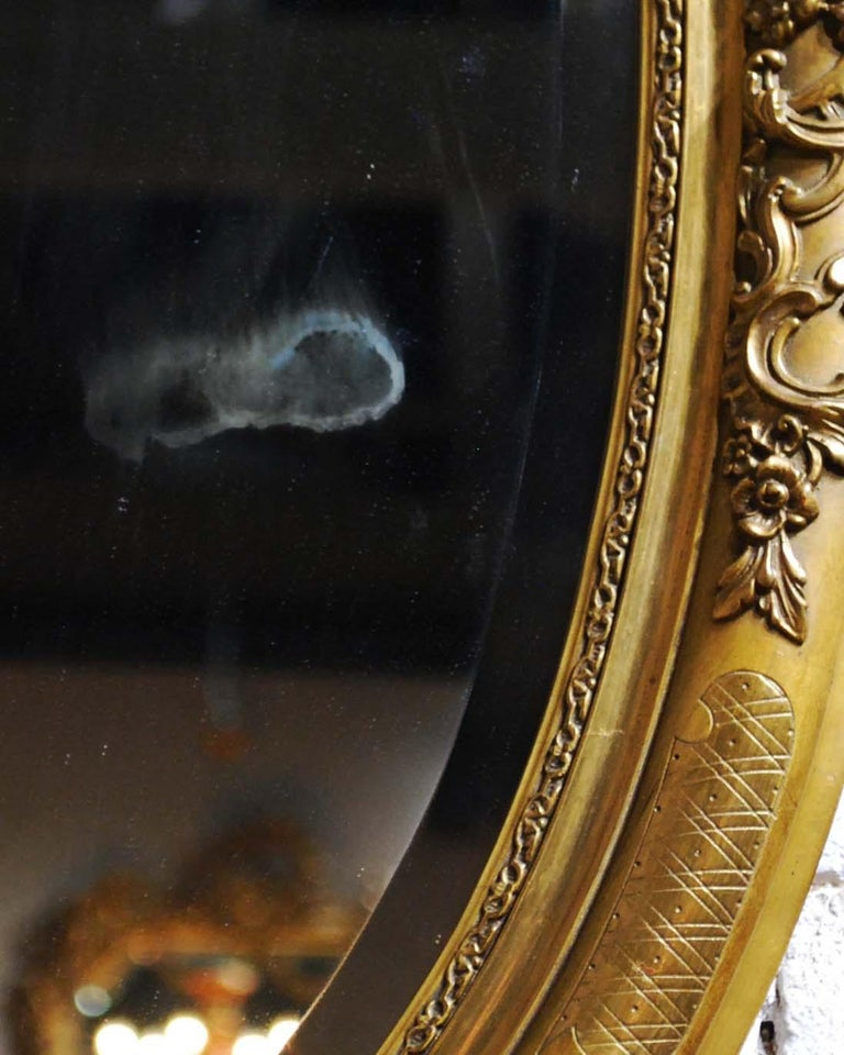 Antique 19th Century French Oval Gold Leaf Gilt Mirror with Faceted Glass For Sale 4