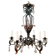 Antique 19th Century French Provincial Iron and Crystal Chandelier