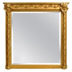 Antique 19th Century French Renaissance Rectangular Mirror with Cherubs