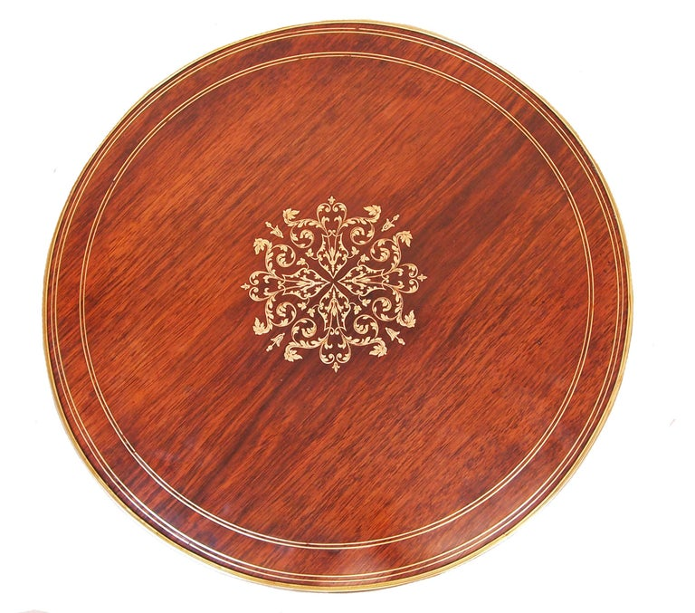 19th Century French Rosewood Circular Lamp Table For Sale 2