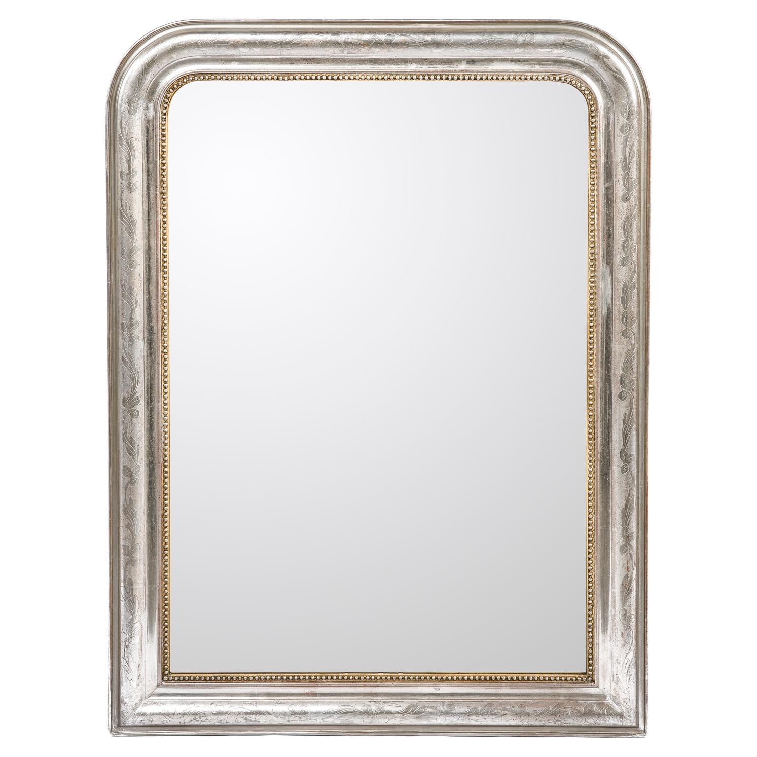 Antique 19th-Century French Silver Leaf Gilt Louis Philippe Mirror