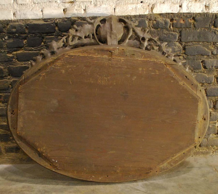 Antique 19th Century French Silver Leaf Gilt Oval Mirror with Crest For Sale 8