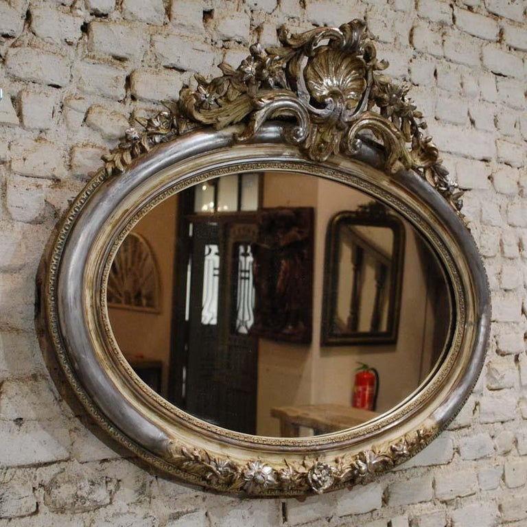 Louis Philippe Antique 19th Century French Silver Leaf Gilt Oval Mirror with Crest For Sale