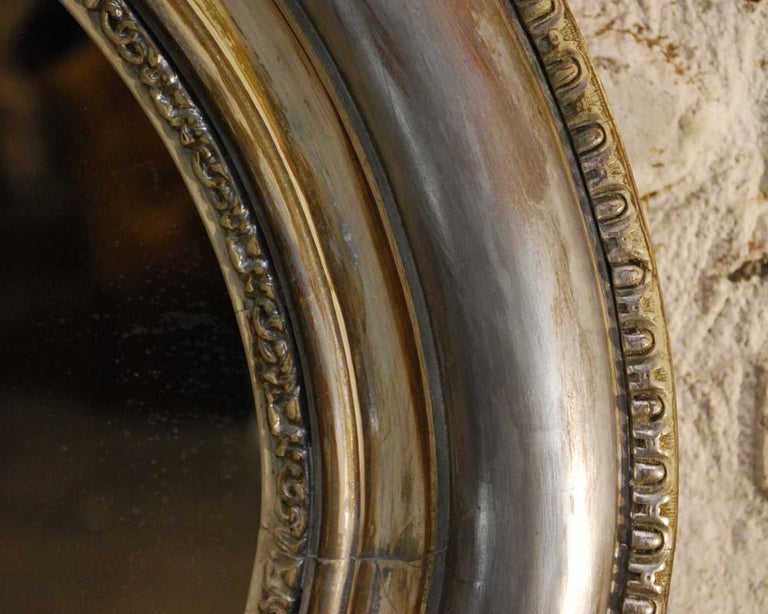 Antique 19th Century French Silver Leaf Gilt Oval Mirror with Crest For Sale 4