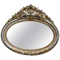 Antique 19th Century French Silver Leaf Gilt Oval Mirror with Crest