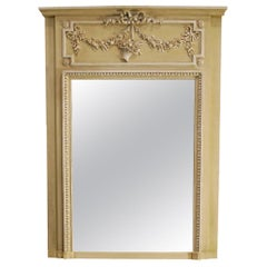 Antique 19th Century French Trumeau Mirror with Bas-Relief Ornaments