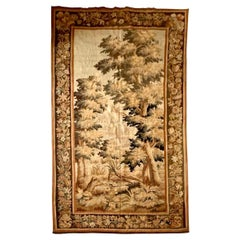 Antique 19th Century French Verdure Landscape Tapestry