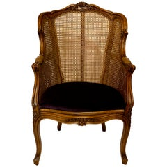 Antique 19th Century French Walnut Bergère