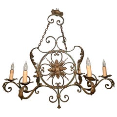 Antique 19th Century French Wrought Iron 6 Light Chandelier