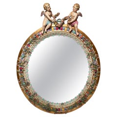 Antique 19th Century German Meissen Porcelain Framed Oval Mirror Circa 1855-1875