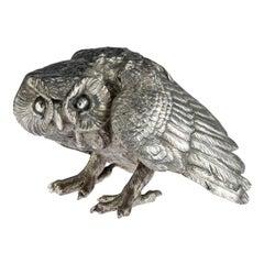 19th Century German Solid Silver Model of a Prowling Owl, Hanau, circa 1890