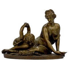 Antique 19th Century Gilt French Bronze of Venus & Cupid after Carrier-Belleuse