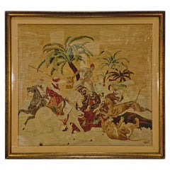 """Antique 19th Century Gobelin Style Tapestry After Horace Vernet's """"Lion Hunt"""""""