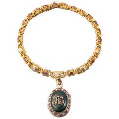 Antique 19th Century Gold and Precious Stones French Bracelet