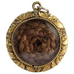 Antique 19th Century Gold Filled Mourning Pendant with Braided Woven Hair