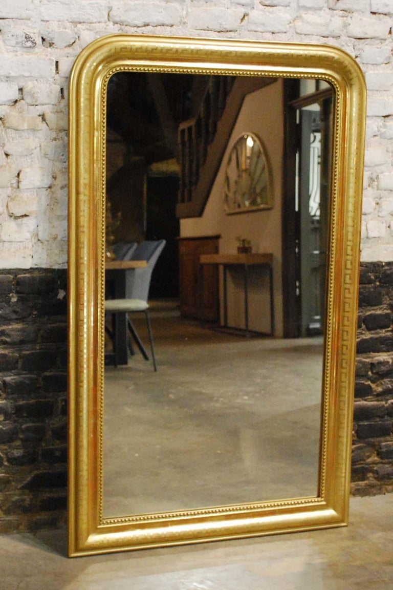 Antique 19th Century Gold Leaf Gilt French Louis Philippe Mirror In Good Condition For Sale In Casteren, NL