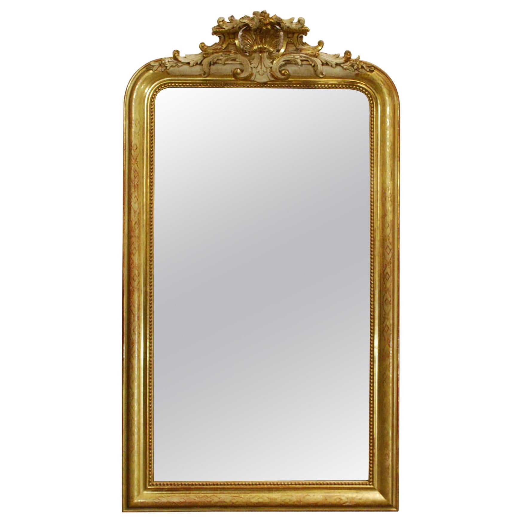 Antique 19th Century Gold Leaf Gilt French Louis Philippe Mirror with Crest