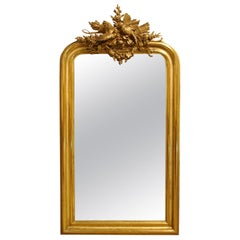 Antique 19th Century Gold Louis Philippe Mirror with an Ornate Crest