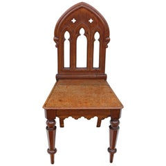 Antique 19th Century Gothic Mahogany Hall Side Chair