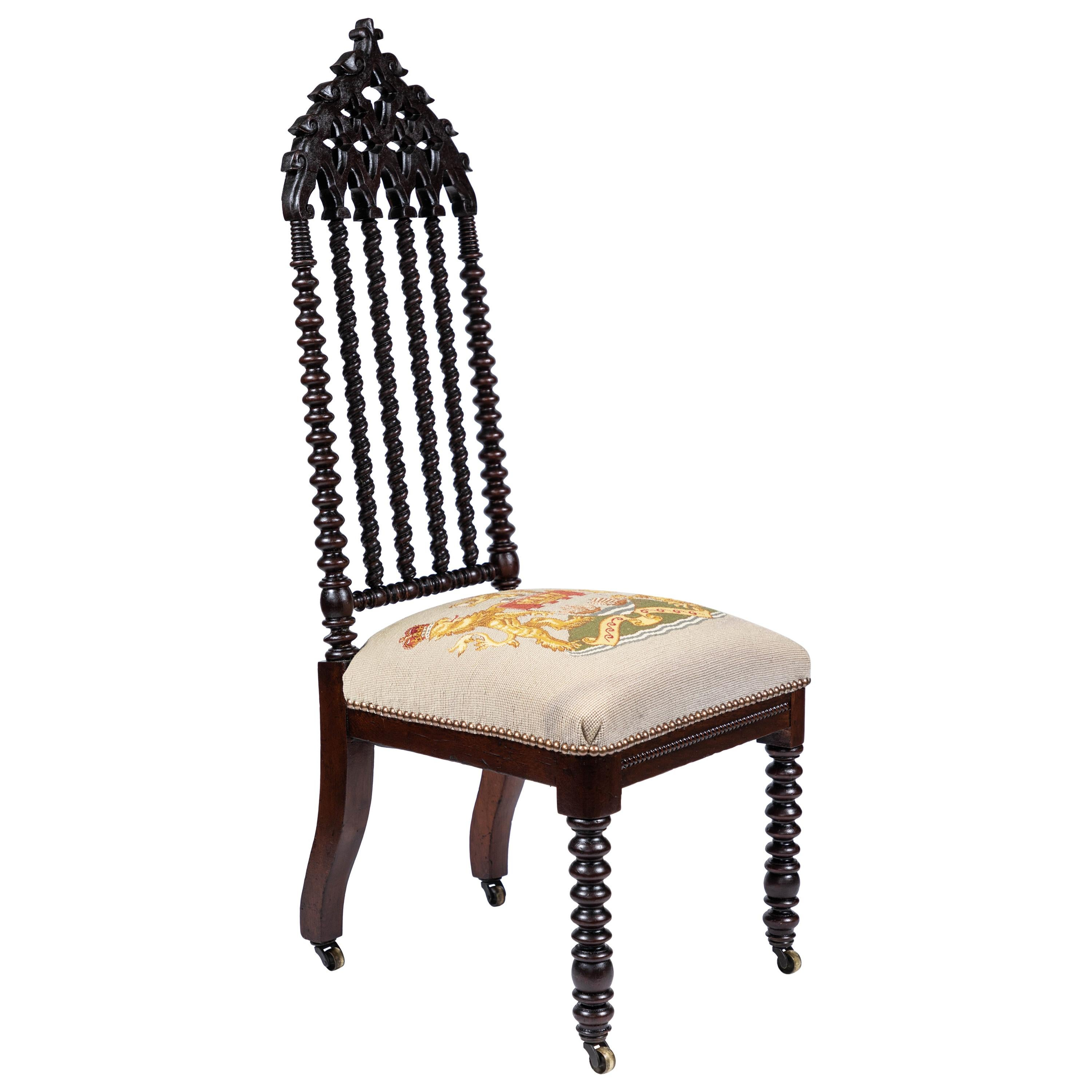 Antique 19th Century Gothic Revival Style Chair For Sale