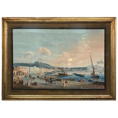 Antique 19th Century Gouache Watercolor by Guiseppe Gustavo Scoppa B-1856