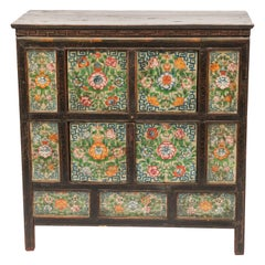 Antique 19th Century Hand Painted Tibetan Cabinet