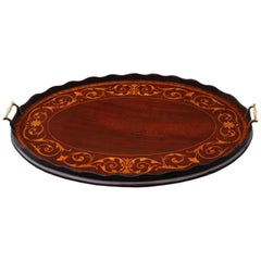 Antique 19th Century Inlaid Mahogany Oval Serving Tea Tray