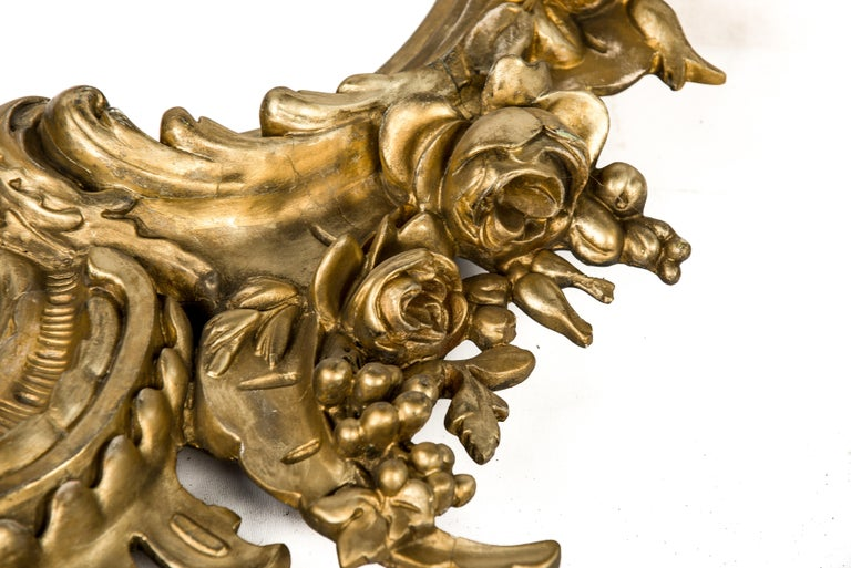 Antique 19th Century Italian Gold Rococo Wall Mirror with Large Cherub or Putti For Sale 1