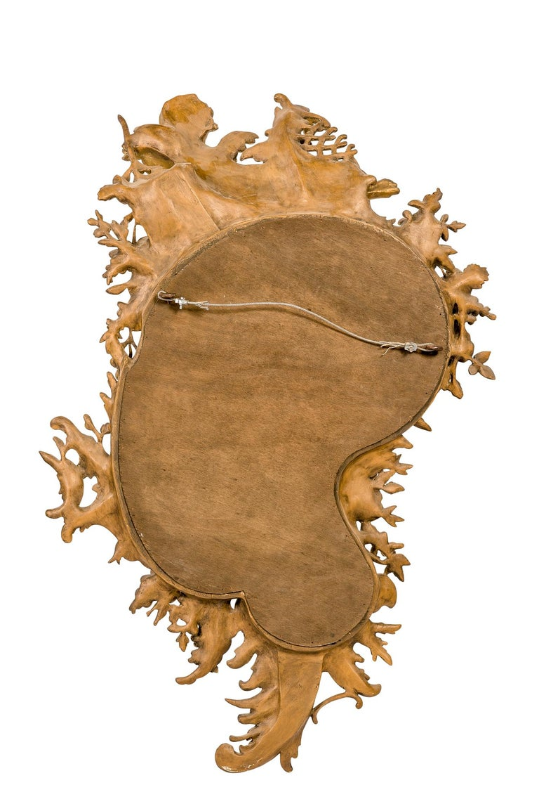 Antique 19th Century Italian Gold Rococo Wall Mirror with Large Cherub or Putti For Sale 2