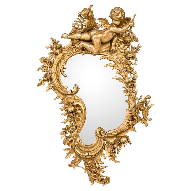Antique 19th Century Italian Gold Rococo Wall Mirror with Large Cherub or Putti For Sale
