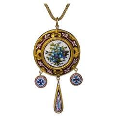 Antique 19th Century Italian Micro Mosaic Gold Necklace