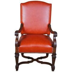 Antique 19th Century Italian Oak Armchair Tuscan Spanish Revival Orange Leather
