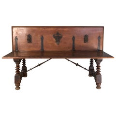 Antique 19th Century Italian Walnut Bench with Spindle Leg and Iron Base