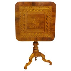 Antique 19th Century Italian Walnut Sorrento Occasional Table with Intarsia